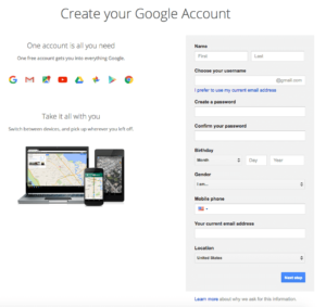 Gmail SIgn-up. Create Your Gmail Account