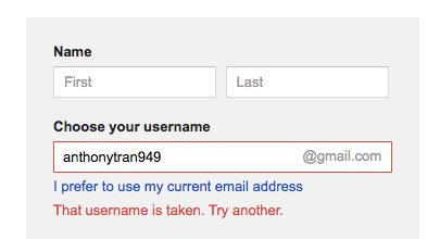 Create Gmail Username