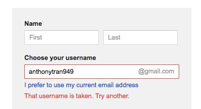 Create Gmail Username
