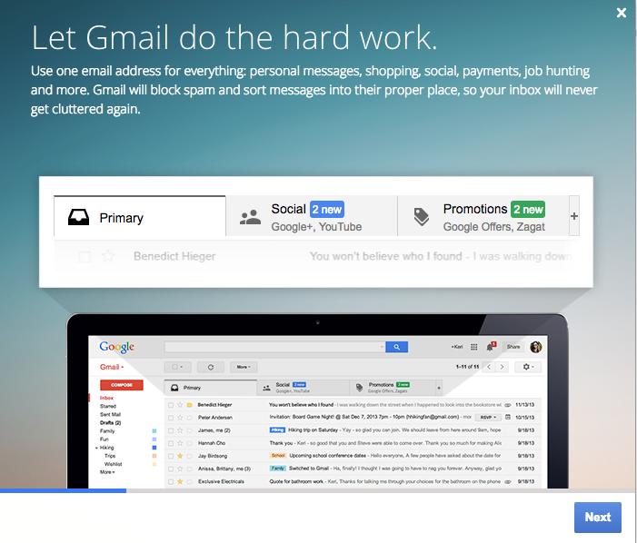 Gmail Welcome Screen
